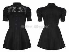 Womens Gothic Black Victorian Tunic Steampunk Floral Lace Collared Mini Dress