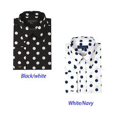 Men's High Fashion POLKA DOT Causal / Dress Shirt in white,black AH 616