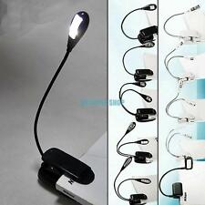Flexible Arm LED Clip Camping Light On Bed Book Reading Desk Laptop Stand Lamp