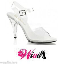 CLEAR STRAPPY LADIES PLEASER CARESS-408 COMPETITION POLE DANCING SHOES UK 2-10*