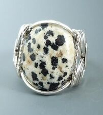Sterling Silver Wire Wrapped Dalmatian Jasper Cabochon Ring