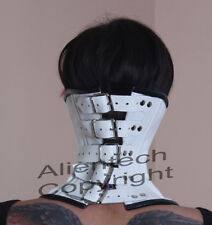 Buckle Real Leather Over Mouth Neck Corset Collar  White S-XL