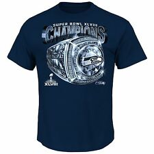 Seattle Seahawks Super Bowl XLVIII Champions Victory Bling V T-Shirt - Blue