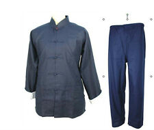 2014,Blue chinese men's kung-fu tai-chi jacket/cost/pants suits size M-XXXL