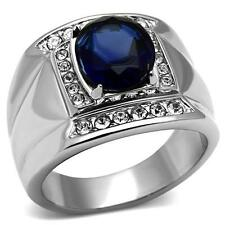 Stainless Steel Montana Blue Glass Fiber Men's Ring, SIZE 8 - 13