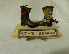 Wedding Western Cowboy Boots Spur Cake Topper Git n Hitched Sign Your Choice