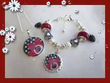 SUPER GORGEOUS LITTLE GIRLS LADY BUG LADY BIRD SILVER NECKLACE BRACELET SET