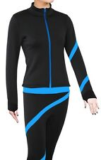 Figure Skating Polartec Fleece Spiral Jacket - Deep Sky Blue