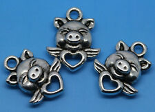 wholesale 50pcs lovely Tibet silver style pig Finding Charms pendant 13x16mm