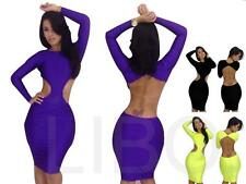Women Hollow Bodycon Party Neon dress Sexy Club Wear Backless Bandage Dresses