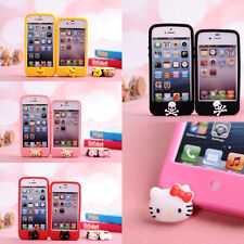 3D Cartoon Home Button Silicon Skin Case Cover for Apple Iphone 5 5s 5g