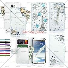 Luxury 3D Bling Leather Wallet Hard Case Cover For Galaxy Note 2 II N7100 + Pen