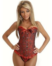 Red and Black Gothic Brocade Corset M-6XL (Dress Size 4-20)