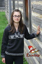 Metis Sweater Etchiboy Red River Cart Charcoal Alpaca Wool Square Shape S-XXL