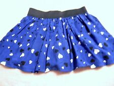 FADED GLORY Girls S (6-6X) M (7-8)  Skort Blue With Black & White Hearts