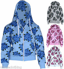 Womens Girls Floral Print Sweatshirt Hoodies Ladies Fleece Zip up Hood jacket