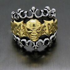 Mens Gothic Gold Skull Bat Solid 316L Stainless Steel Biker Ring