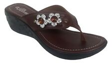 WOMENS FASHION WEDGE BEAUTIFUL STUDDED BROWN SANDALS, 2 INCH HEEL, USA SELLER