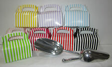 6x Scoops +24  Coloured Striped Lolly Candy BOXES- Candy Buffet -SELECT COLOUR