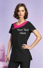 NEW Personalised Printed Short Sleeve Tunic For Beauty, Hair Salon Spa Etc.2cols
