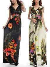 Tall extra long floral print pattern sexy double deep V-neck women's maxi dress
