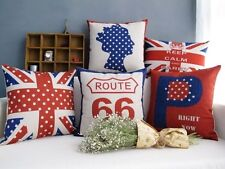 Union Jack Flag UK Queen Route 66 Dots Pattern cushion Cover throw pillow case