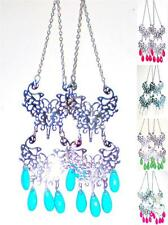 Double Filigree Charms Hanging frm Chains Dangle Colored Beads Earrings * U Pic