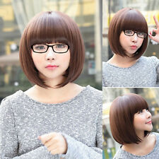 Fashion Womens Short Straight Hair Ladies Cosplay Party Costume Full Wig Brown