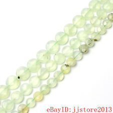 10,12,14mm Natural Faceted Coin Green Prehnite Gemstone Loose Beads Strand 15""