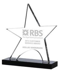 NEW GLASS CLEAR STAR ON BLACK BASE TROPHY/AWARD Free Engraving