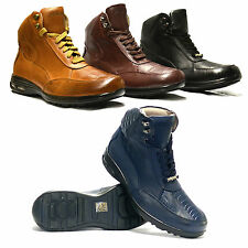 Mens Leather Hi Tops Hiking Trainers Ankle Military Army Biker Boots Shoes Size