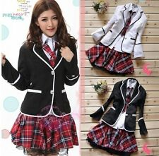 Japanese School Girl Uniform Cosplay Costume Black Red Tartan Dress Sur coat