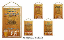 NFL NEW Man Cave Rules Wood Sign / Plaque - CHOOSE YOUR TEAM