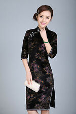 Chinese long sleeve cheongsam Stretch velvet dress gown qipao  size S-XXL
