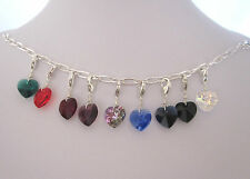 925 Sterling Silver Genuine SWAROVSKI HEART crystal clip on charm pendant