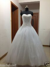 New White/Ivory Tulle&Lace Ball Gown Wedding Dress Stock Size 6-8-10-12-14-16+++