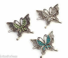 Vintage Silver Look Butterfly Hair Clip Grip Slide with Coloured Crystals