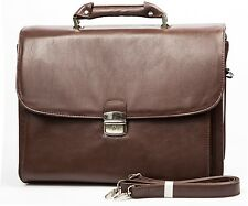 Men's Leather Laptop Notebook Sleeve Case Briefcase Shoulder Messenger Bag Black