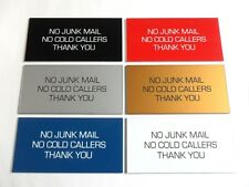 Engraved Plaque/Sign 100x50 No Junk Mail, No Cold Callers Letterbox/Front Door
