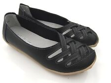 WOMENS Comfort BLACK Soft LEATHER FLATS Ballet Walk SHOES Work Sz 7 8 9 10 11