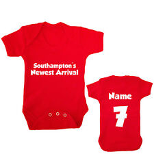 SOUTHAMPTON FC PERSONALISED FOOTBALL BABY GROW CHOOSE YOUR NAME AND NUMBER