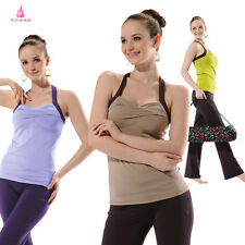 Racerback Rouch Cross Front Shelf Bra Built-in Support Tank/Yoga Bootcut Trouser