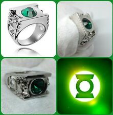 Platinum Plated Green Lantern Ring with Austrian Crystal/US Size 7~12 for unisex