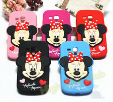 3D Minnie&Mickey Face Soft Silicone Case for Samsung Galaxy S DUOS S7562 Cover