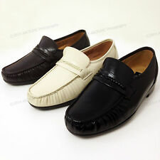 Men's Dress Loafers Leather Wide Width (EEE) Moc Toe Slip On Comfort Shoes Sizes