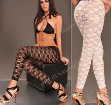Sexy Womes Stretch Lace Floral Capri Leggings/Tights Footless Sheer Skinny Pants