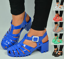 WOMENS LADIES CHUNKY HEEL JELLY SANDALS SUMMER JELLIES FLIP FLOPS SHOES SIZE 3-8