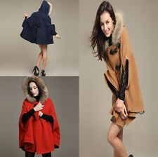 1pc Women's Pea Coat Jacket Cute Shawl Cape Faux Fur Hood Loose Parka Poncho ONE