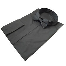 """Brand New Mens Quality Black Wing Collar Shirts Sizes 20"""" - 23"""" Double Cuff"""