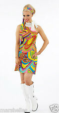 LADIES BRIGHT PSYCHEDELIC 70s 60s WOMENS RETRO FANCY DRESS COSTUME HIPPY HIPPIE
